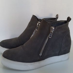 Steve Madden Leather Wedge High Top Sneakers 8.5M